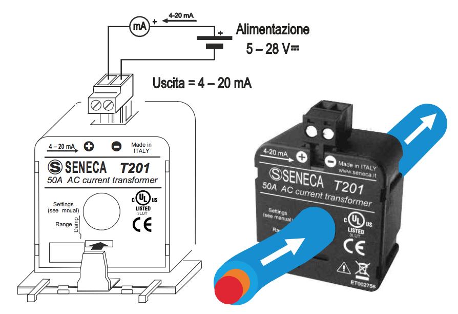 cách lắp đặt biến dòng analog 4-20mA seneca t201
