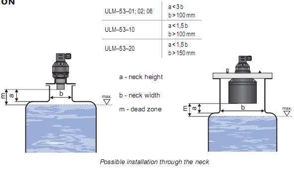 cảm biến siêu âm đo mức chất lỏng cho bồn chứa có cổ