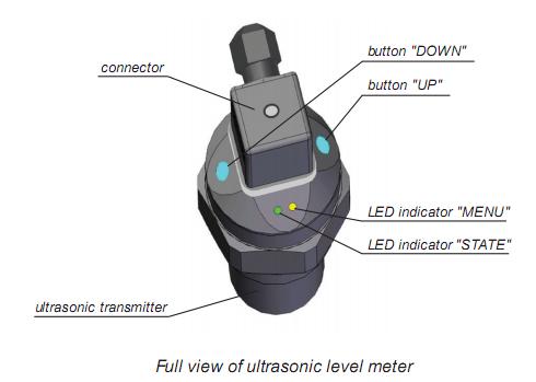 đèn trạng thái của cảm biến siêu âm đo mức nước thải