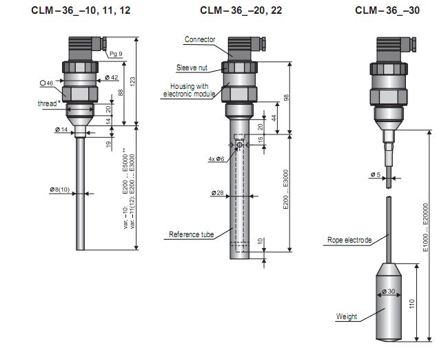 kích thước của cảm biến đo mức nước liên tục