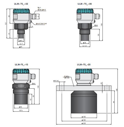 thông số kỹ thuật của cảm biến đo mức nước ULM-70