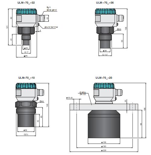 kích thước cảm biến siêu âm báo mức nhiên liệu