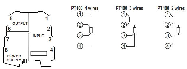 Đấu dây cho bộ chuyển đổi PT100 ra 0-10V