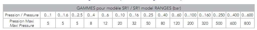 Cảm biến áp suất SR1 Georgin Pháp