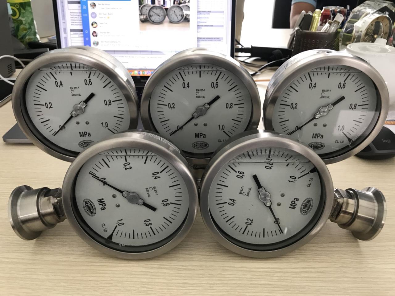 Đồng hồ áp suất màng đo hóa chất Georgin - Pháp