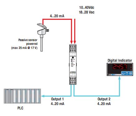 Bộ chuyển đổi nhiệt độ 2 ngõ ra 4-20mA 0-10V