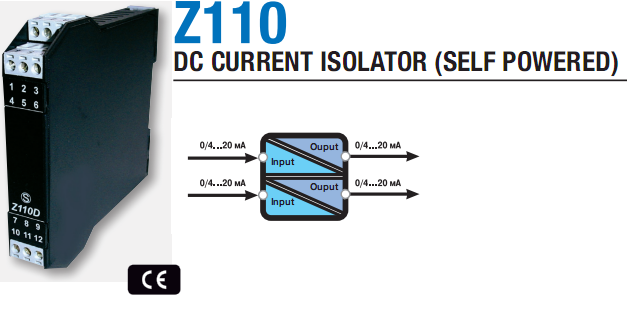 Modem 4-20mA signal channel 2 channel Z110D