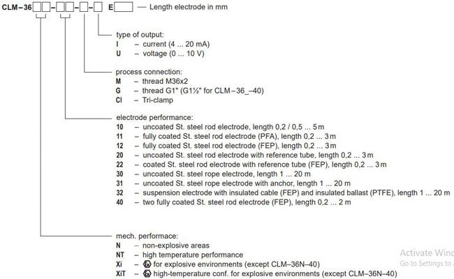 Model cảm biế n đo mức CLM-36-40