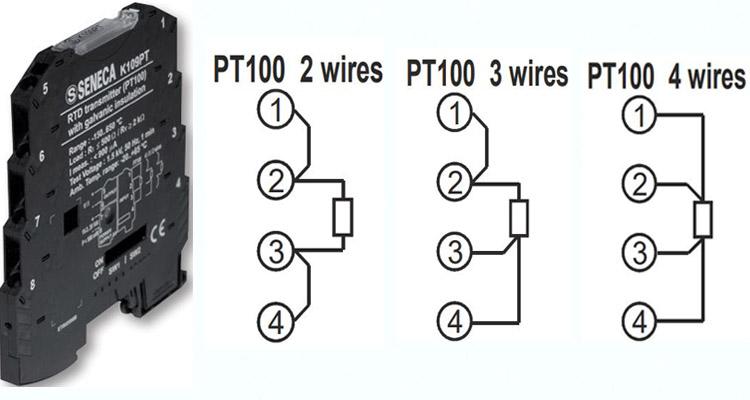 Bộ chuyển đổi nhiệt độ pt100 sang 0-5v k109pt seneca