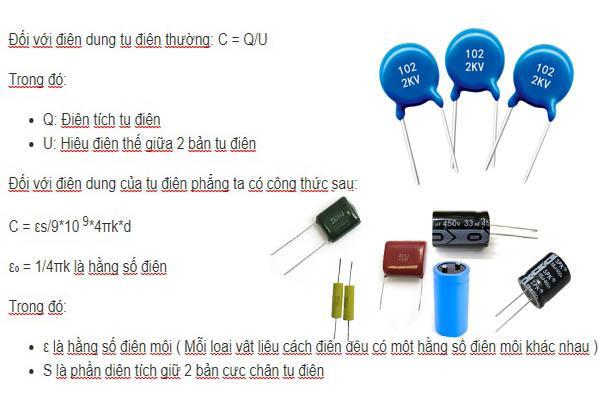 công thức tính điện dung của tụ điện