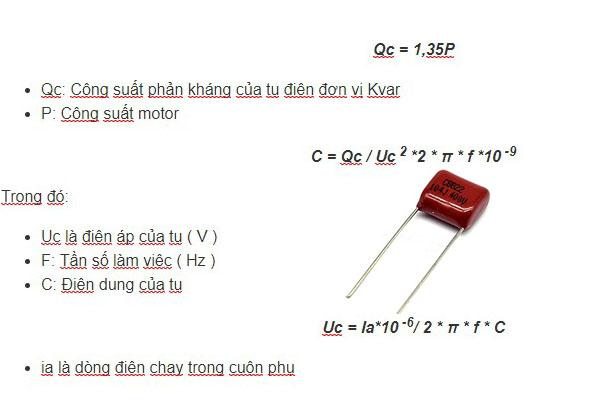 công thức tính tụ điện